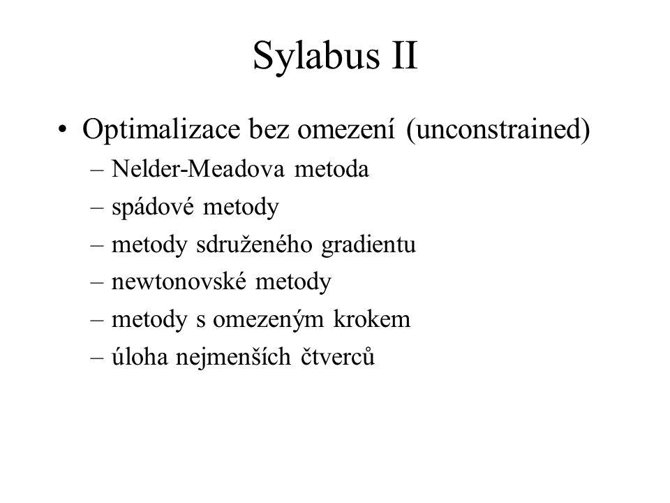 Sylabus II Optimalizace bez omezení (unconstrained)
