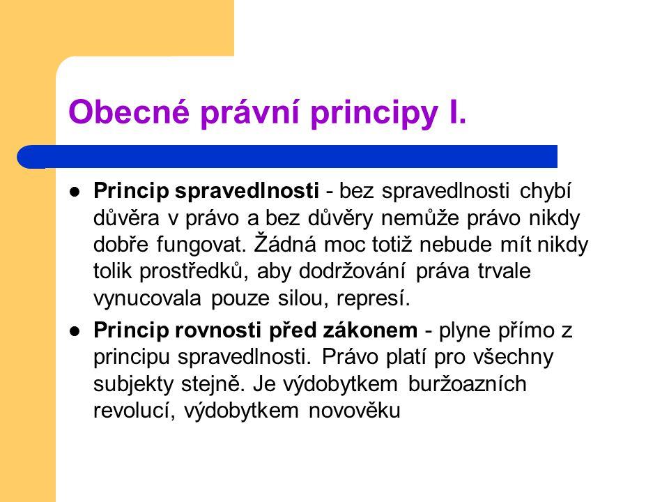 Obecné právní principy I.