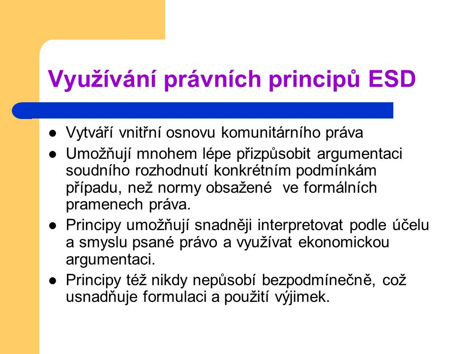 Využívání právních principů ESD