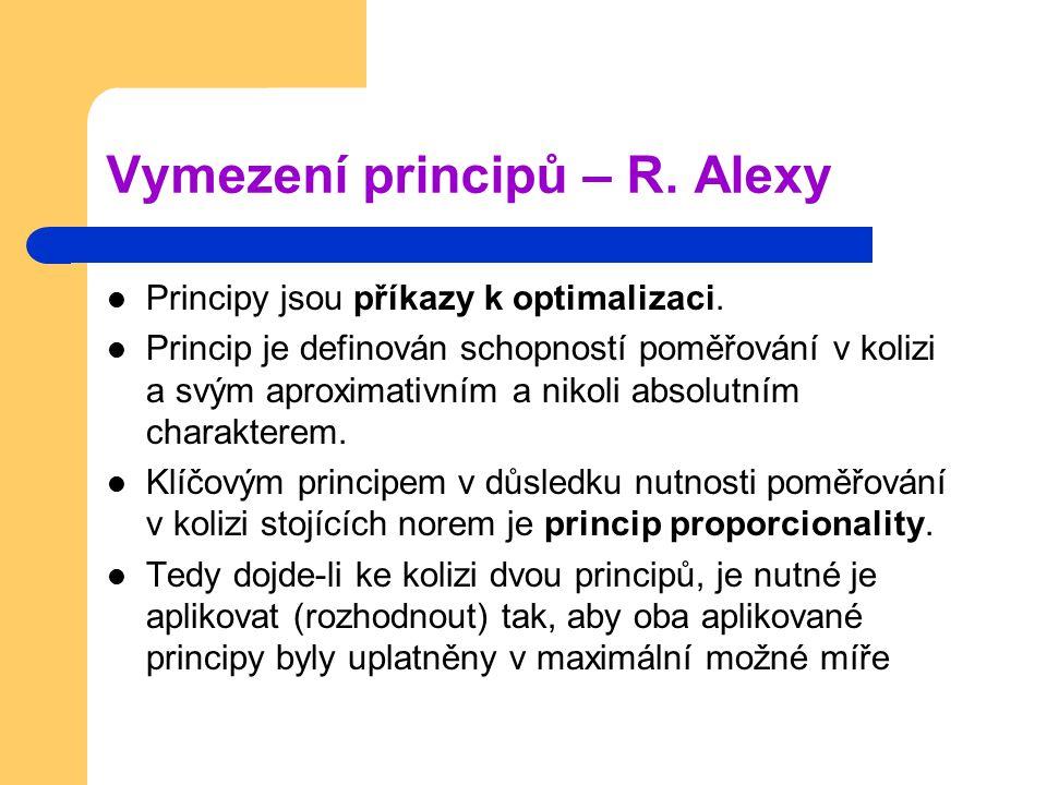 Vymezení principů – R. Alexy