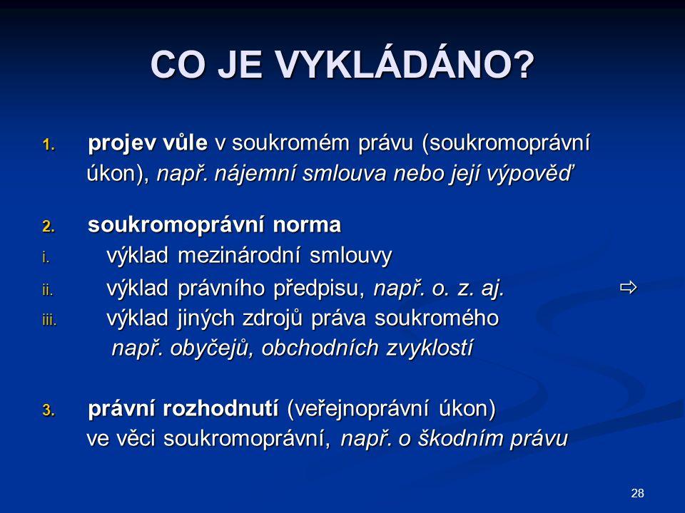 CO JE VYKLÁDÁNO projev vůle v soukromém právu (soukromoprávní