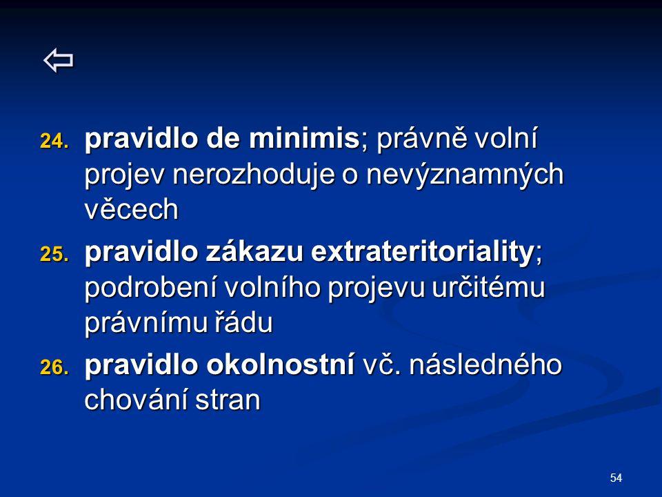  pravidlo de minimis; právně volní projev nerozhoduje o nevýznamných věcech.