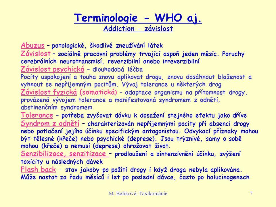 Terminologie - WHO aj. Addiction - závislost