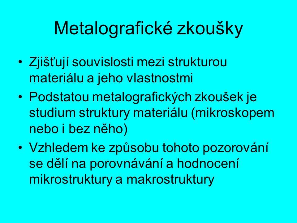Metalografické zkoušky