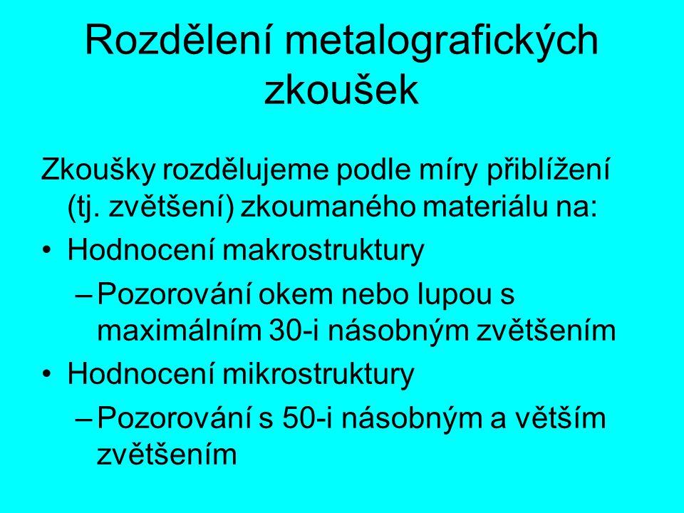 Rozdělení metalografických zkoušek