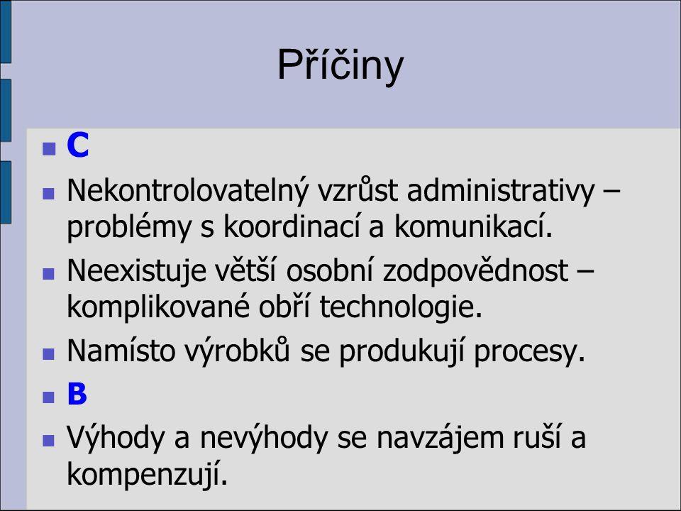 Příčiny C. Nekontrolovatelný vzrůst administrativy – problémy s koordinací a komunikací.
