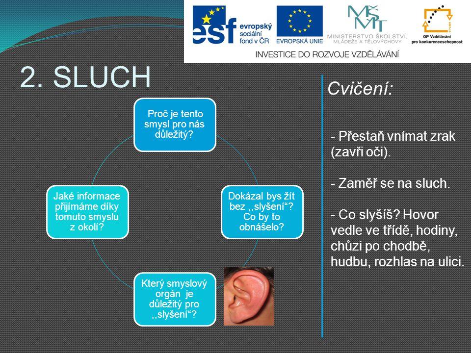 2. SLUCH Cvičení: Přestaň vnímat zrak (zavři oči). Zaměř se na sluch.