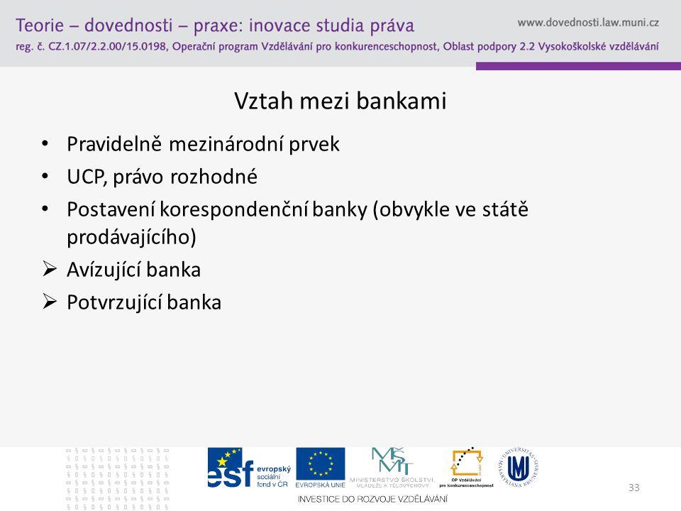 Vztah mezi bankami Pravidelně mezinárodní prvek UCP, právo rozhodné