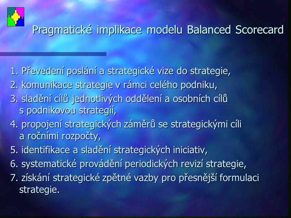 Pragmatické implikace modelu Balanced Scorecard
