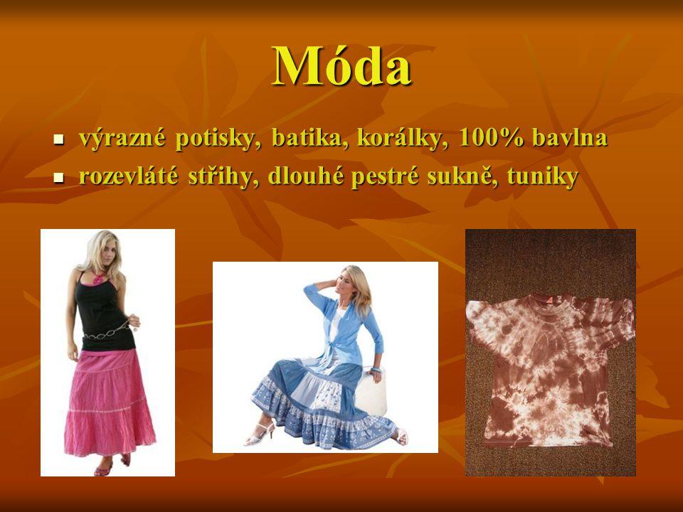 Móda výrazné potisky, batika, korálky, 100% bavlna