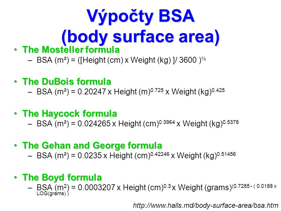 Výpočty BSA (body surface area)