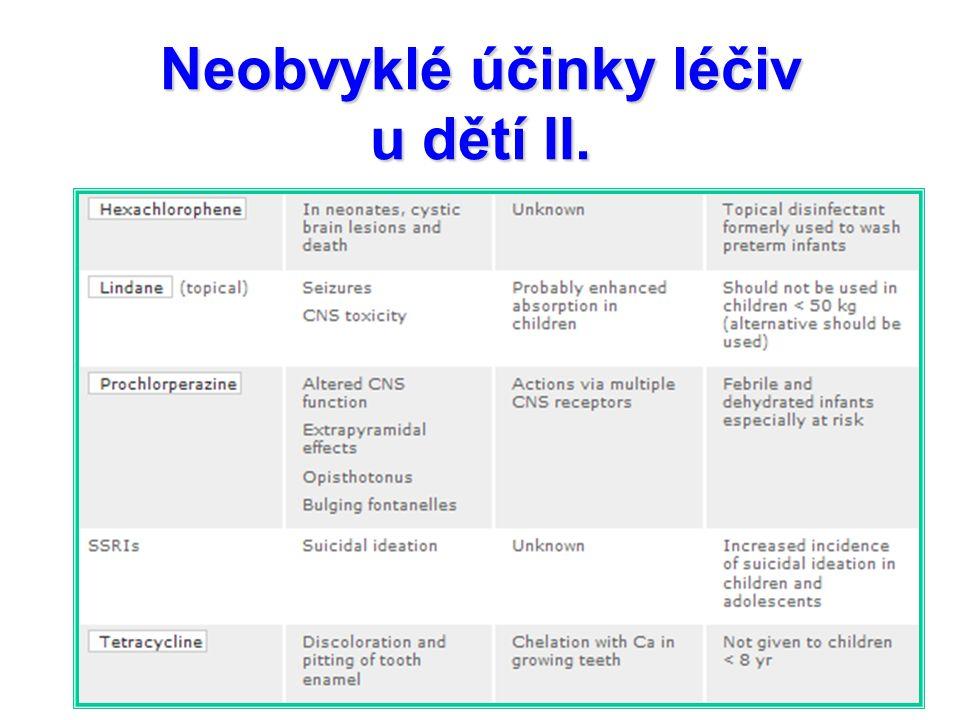 Neobvyklé účinky léčiv u dětí II.