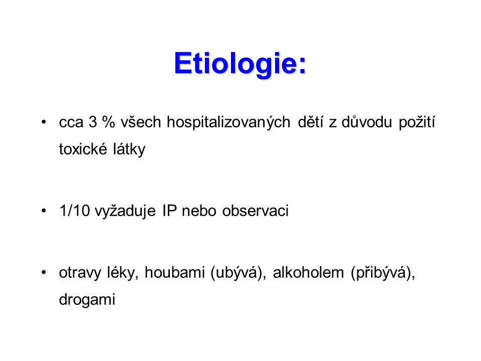 Etiologie: cca 3 % všech hospitalizovaných dětí z důvodu požití toxické látky. 1/10 vyžaduje IP nebo observaci.