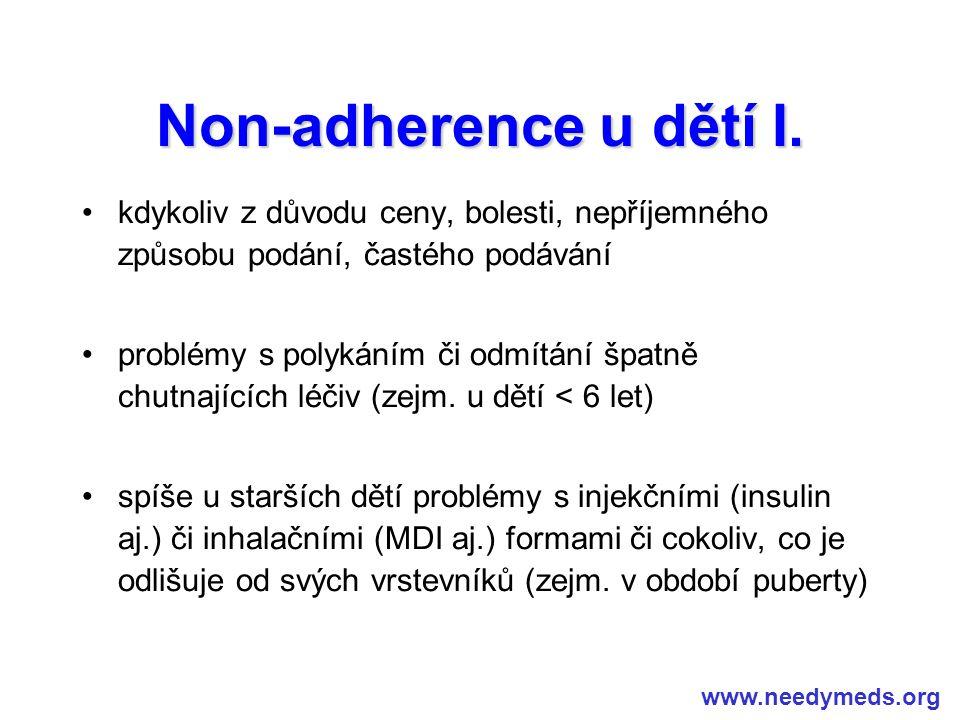 Non-adherence u dětí I. kdykoliv z důvodu ceny, bolesti, nepříjemného způsobu podání, častého podávání.