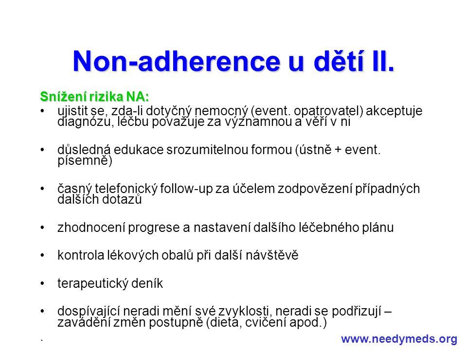 Non-adherence u dětí II.