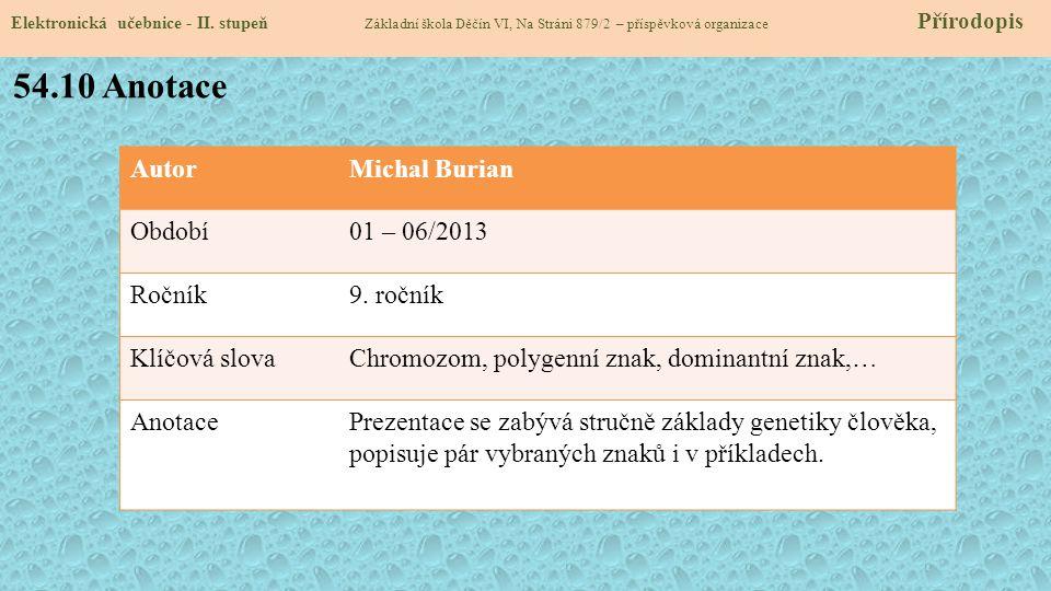 54.10 Anotace Autor Michal Burian Období 01 – 06/2013 Ročník 9. ročník