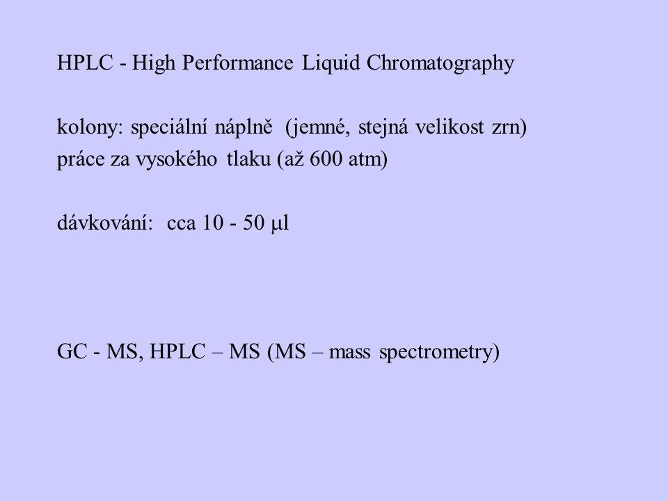 HPLC - High Performance Liquid Chromatography kolony: speciální náplně (jemné, stejná velikost zrn) práce za vysokého tlaku (až 600 atm) dávkování: cca 10 - 50 ml GC - MS, HPLC – MS (MS – mass spectrometry)