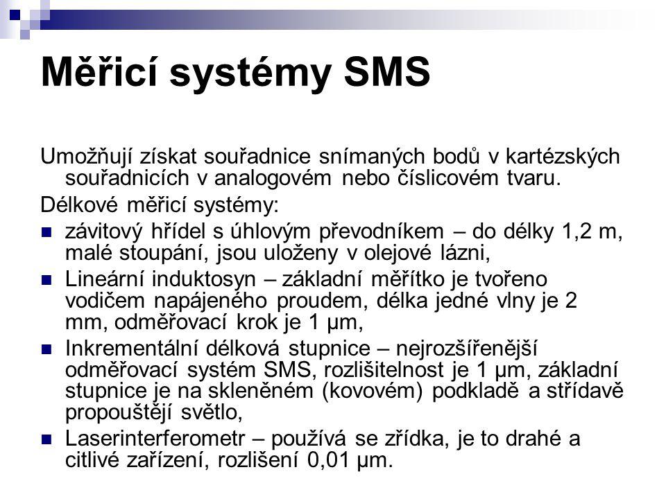 Měřicí systémy SMS Umožňují získat souřadnice snímaných bodů v kartézských souřadnicích v analogovém nebo číslicovém tvaru.