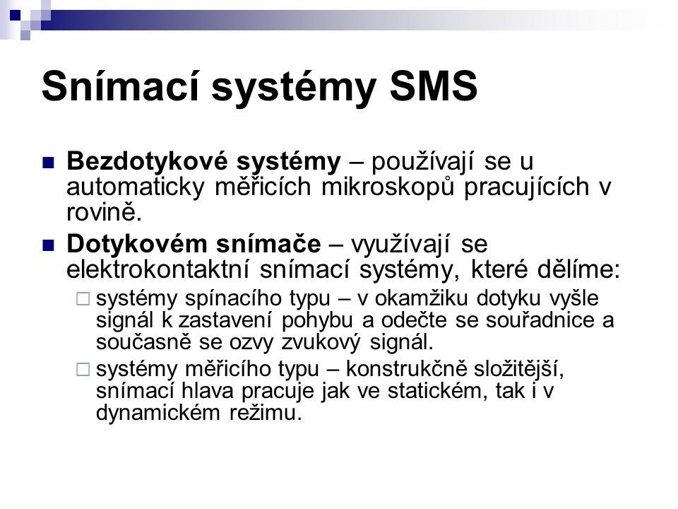 Snímací systémy SMS Bezdotykové systémy – používají se u automaticky měřicích mikroskopů pracujících v rovině.