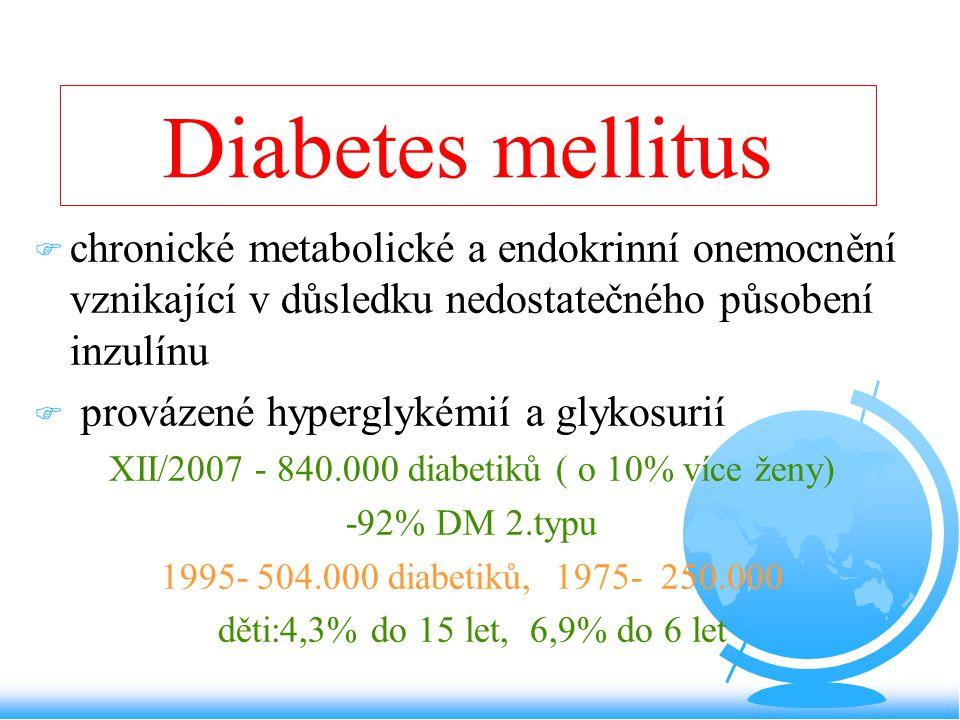 XII/2007 - 840.000 diabetiků ( o 10% více ženy)