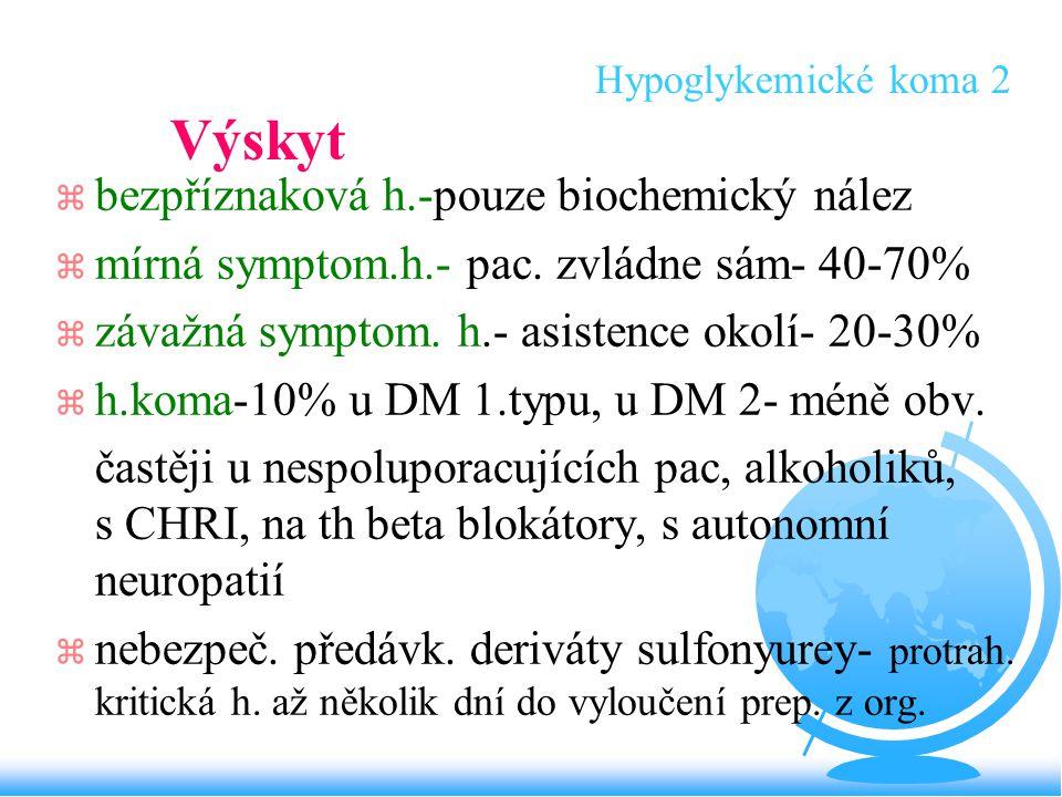 Hypoglykemické koma 2 Výskyt