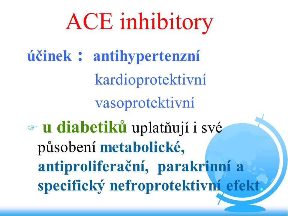 ACE inhibitory účinek : antihypertenzní kardioprotektivní