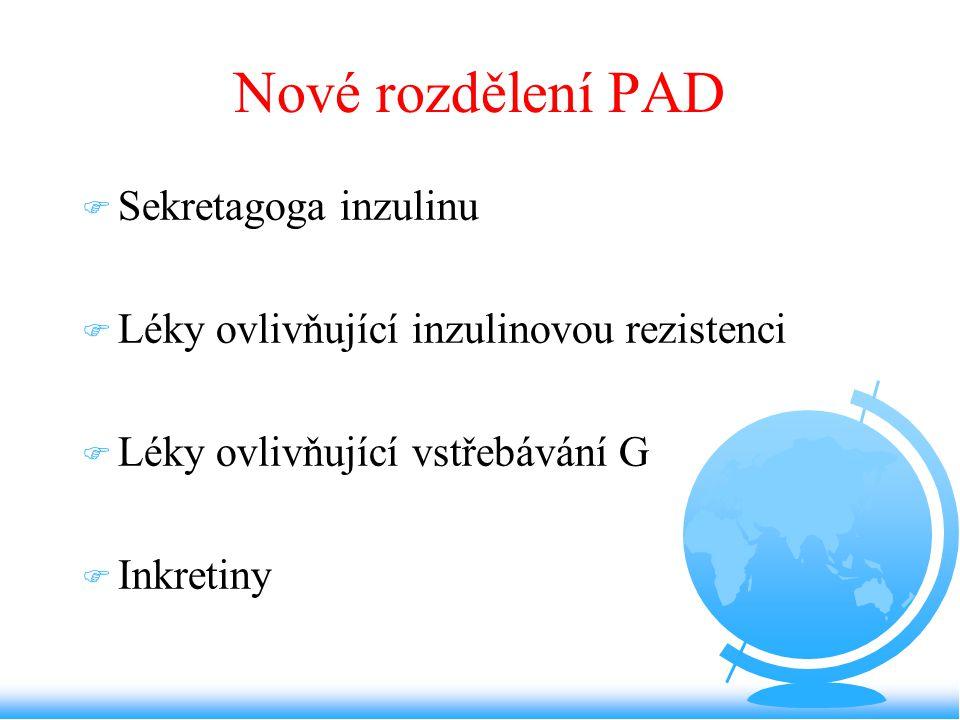 Nové rozdělení PAD Sekretagoga inzulinu