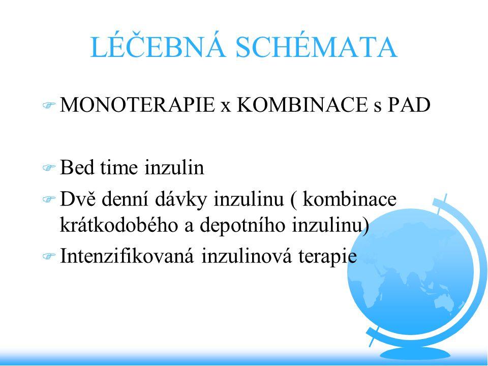 LÉČEBNÁ SCHÉMATA MONOTERAPIE x KOMBINACE s PAD Bed time inzulin