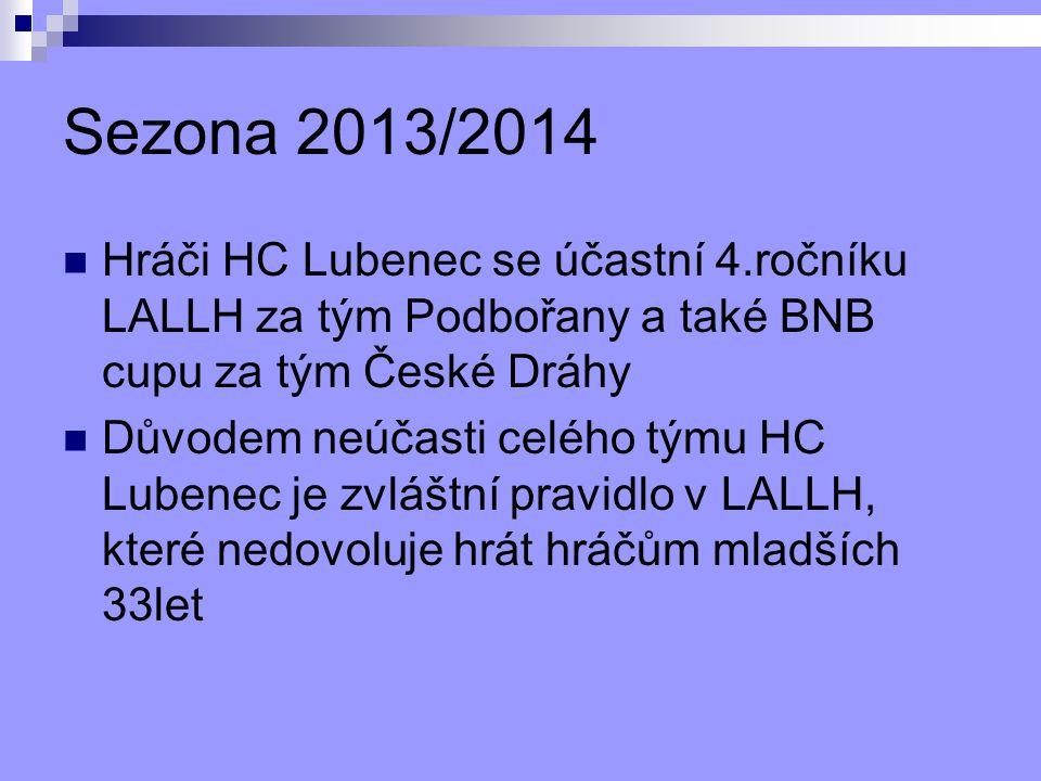 Sezona 2013/2014 Hráči HC Lubenec se účastní 4.ročníku LALLH za tým Podbořany a také BNB cupu za tým České Dráhy.