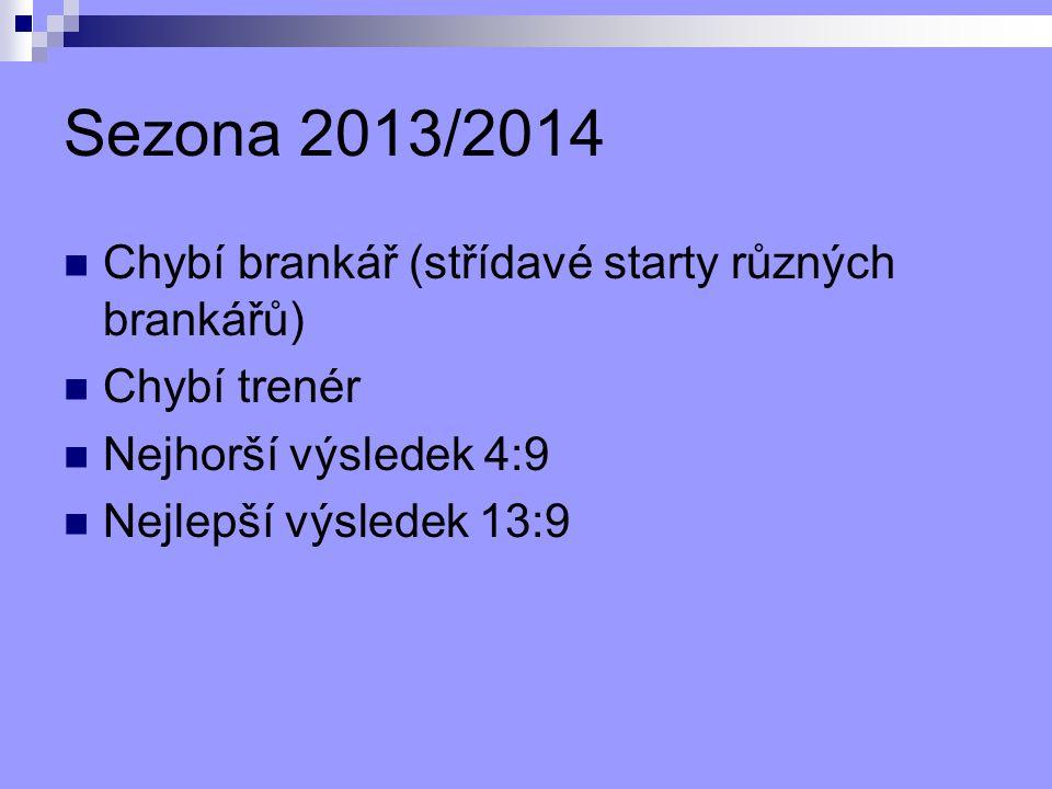 Sezona 2013/2014 Chybí brankář (střídavé starty různých brankářů)