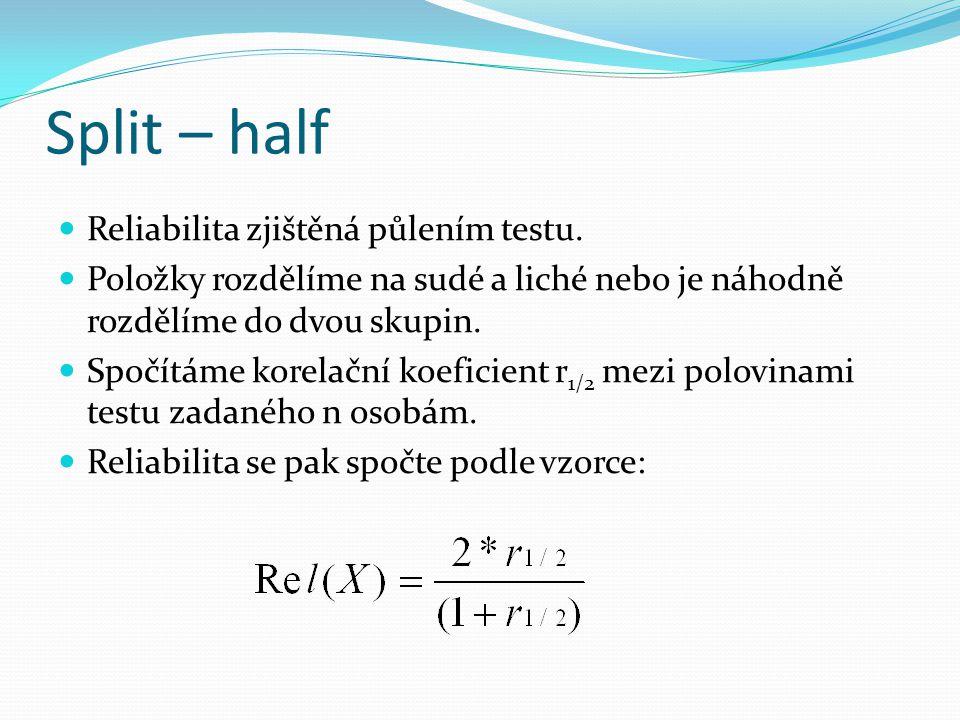 Split – half Reliabilita zjištěná půlením testu.