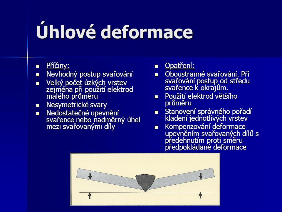 Úhlové deformace Příčiny: Nevhodný postup svařování