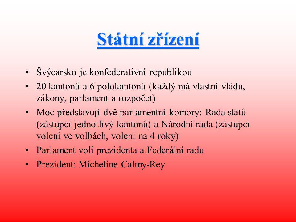 Státní zřízení Švýcarsko je konfederativní republikou