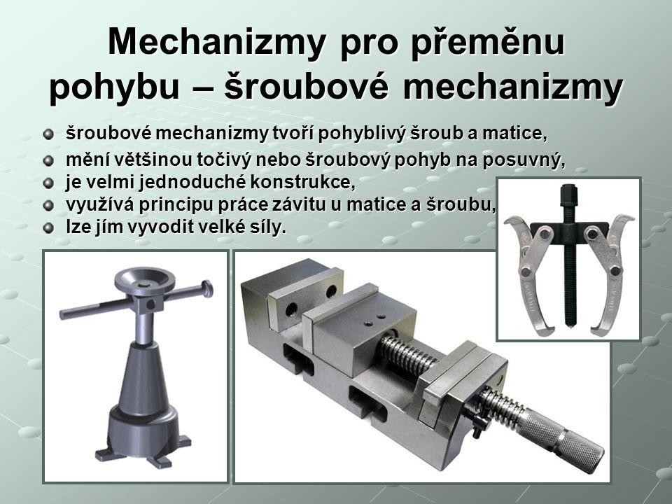 Mechanizmy pro přeměnu pohybu – šroubové mechanizmy
