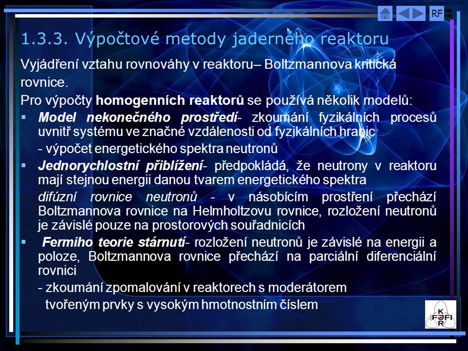 1.3.3. Výpočtové metody jaderného reaktoru