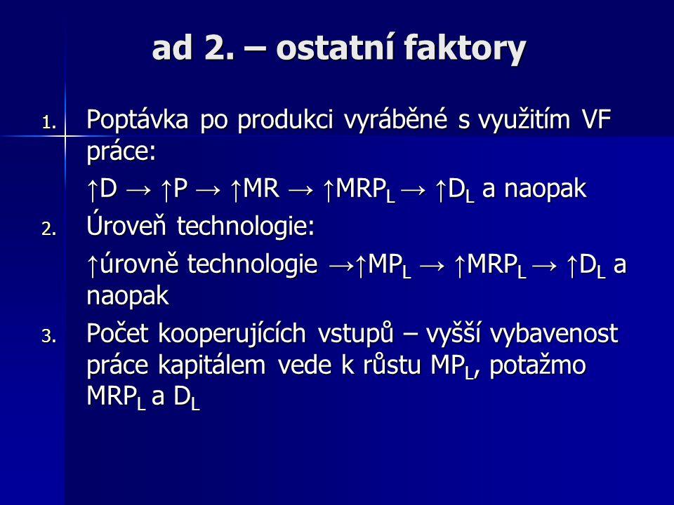 ad 2. – ostatní faktory Poptávka po produkci vyráběné s využitím VF práce: ↑D → ↑P → ↑MR → ↑MRPL → ↑DL a naopak.