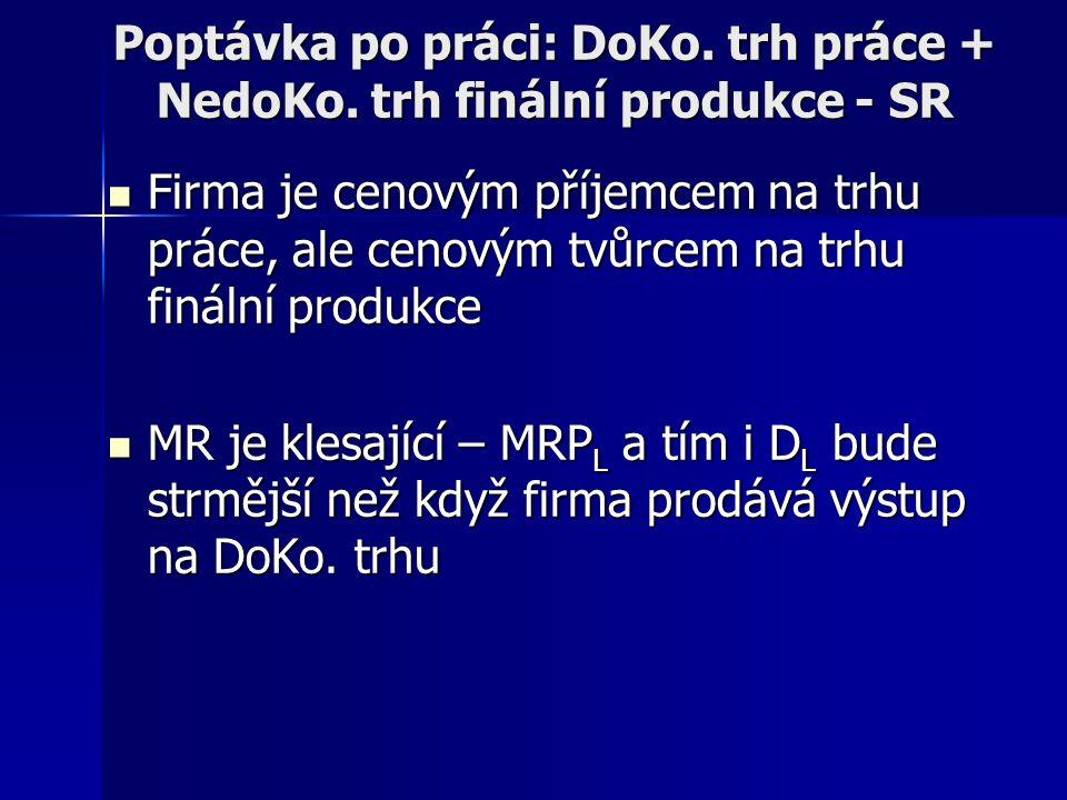 Poptávka po práci: DoKo. trh práce + NedoKo. trh finální produkce - SR