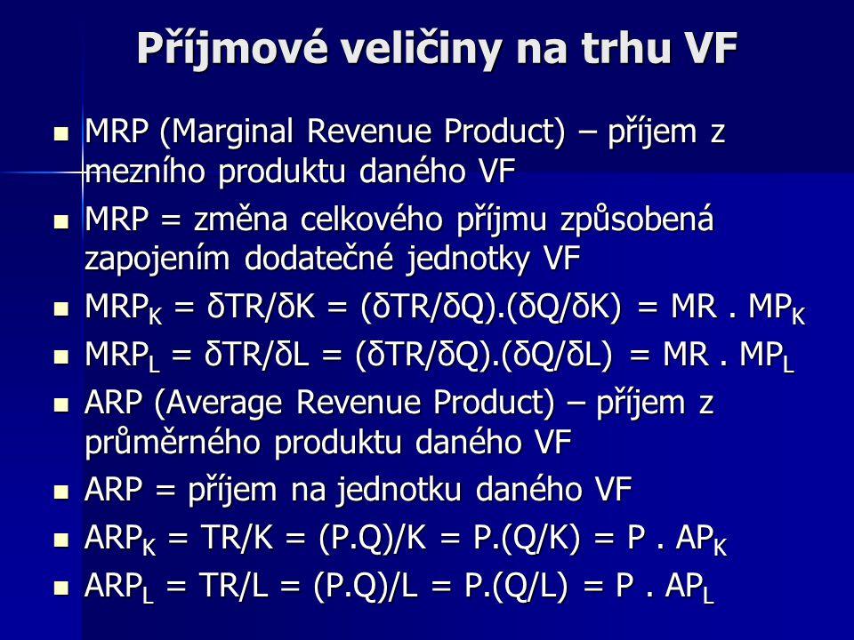 Příjmové veličiny na trhu VF