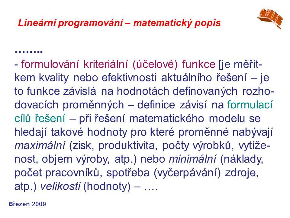 CW05 Lineární programování – matematický popis. ……..