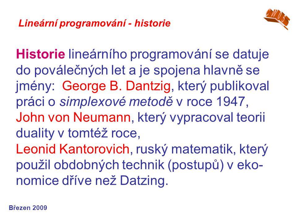 CW05 Lineární programování - historie.