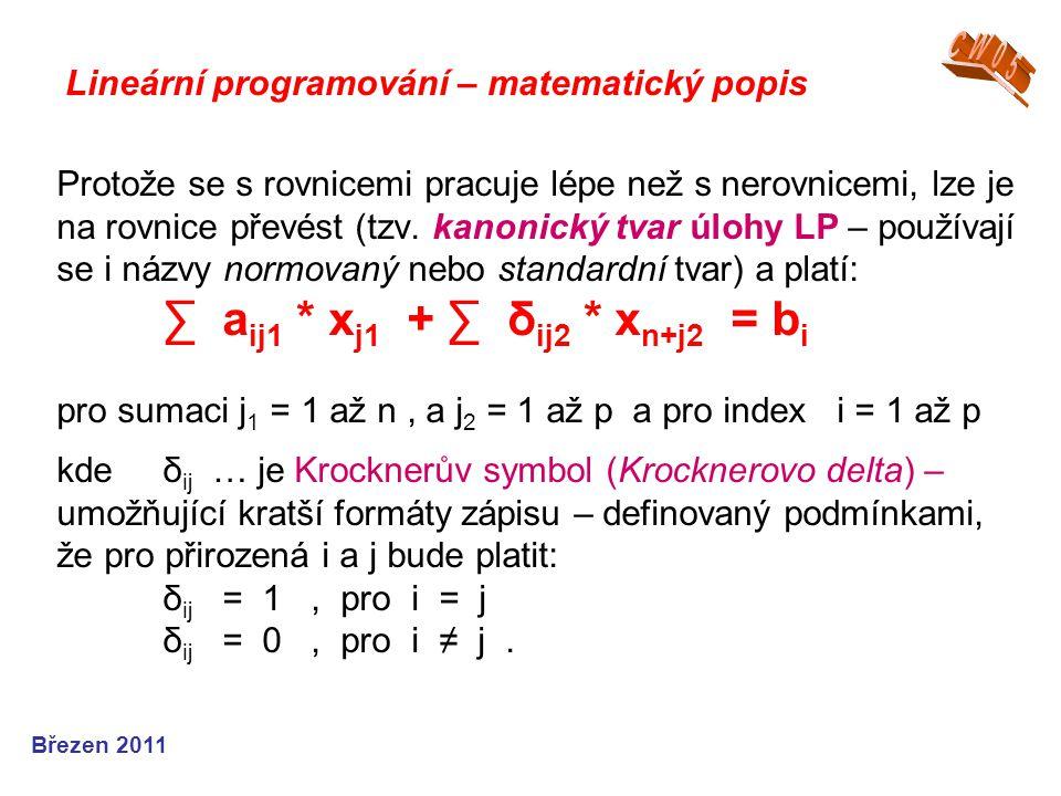 Lineární programování – matematický popis