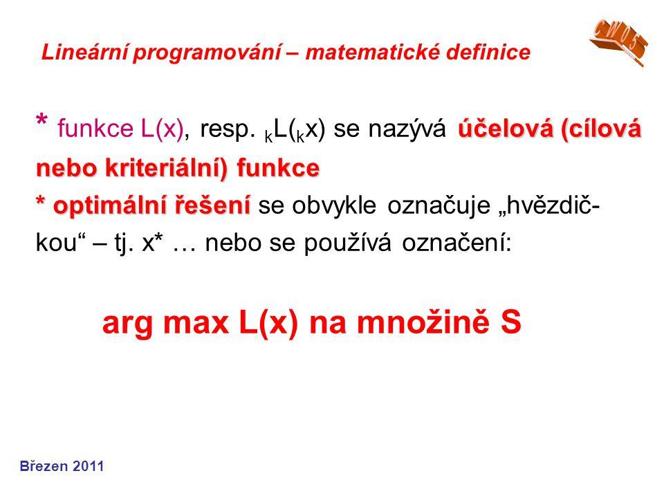 CW05 Lineární programování – matematické definice.