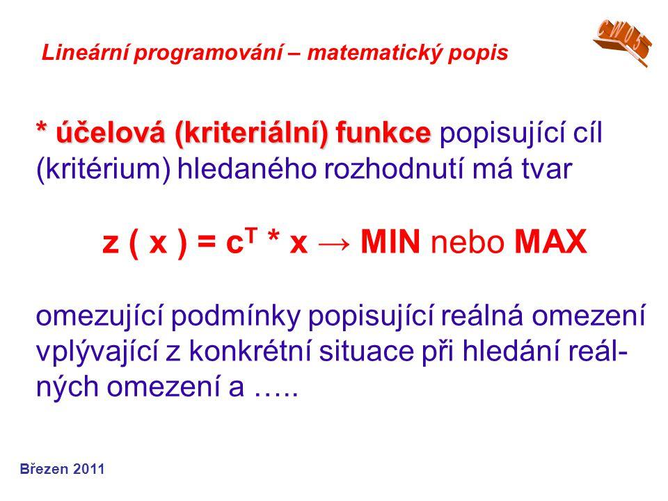CW05 Lineární programování – matematický popis.