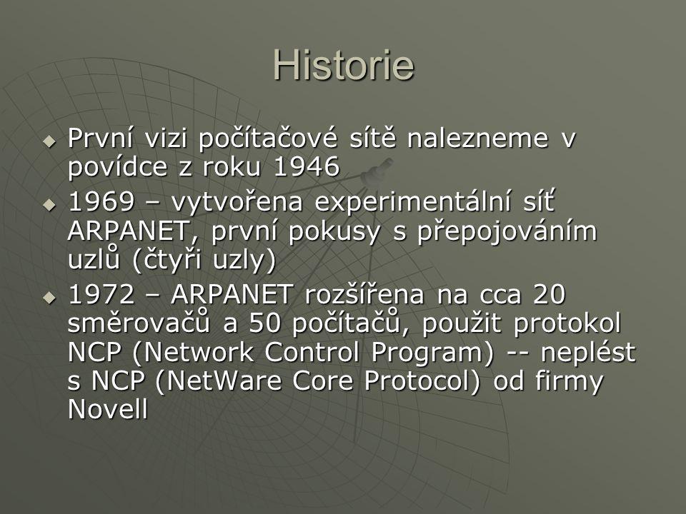 Historie První vizi počítačové sítě nalezneme v povídce z roku 1946