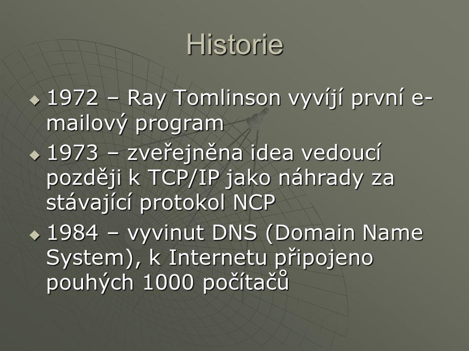 Historie 1972 – Ray Tomlinson vyvíjí první e-mailový program