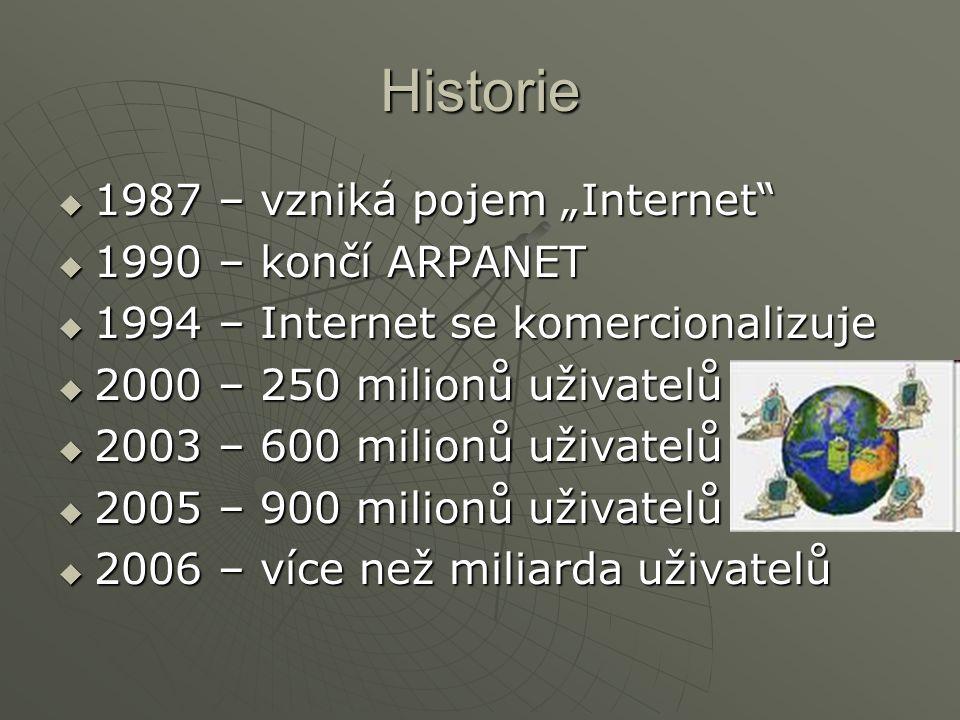 """Historie 1987 – vzniká pojem """"Internet 1990 – končí ARPANET"""