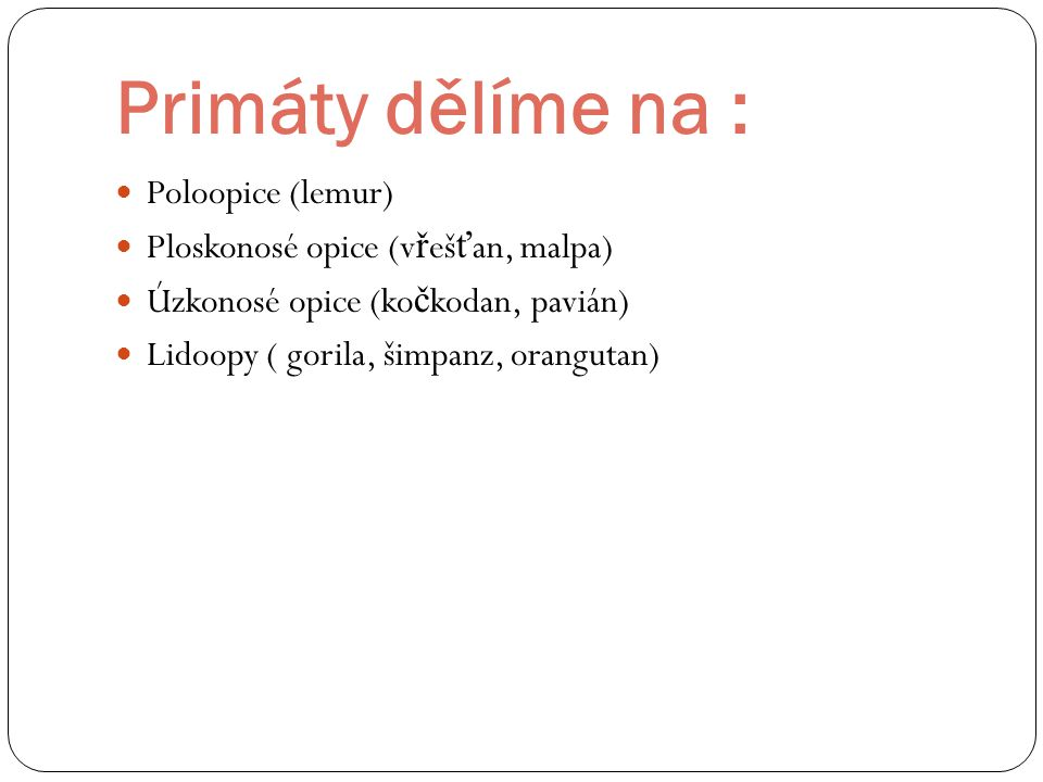 Primáty dělíme na : Poloopice (lemur)