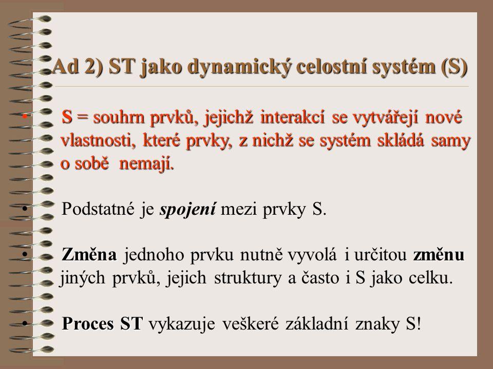 Ad 2) ST jako dynamický celostní systém (S)