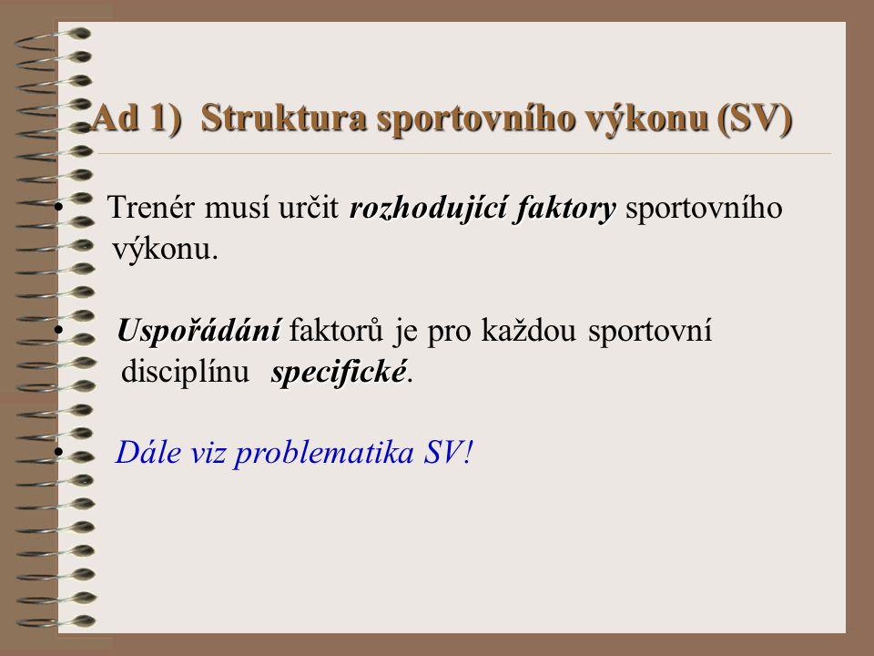 Ad 1) Struktura sportovního výkonu (SV)
