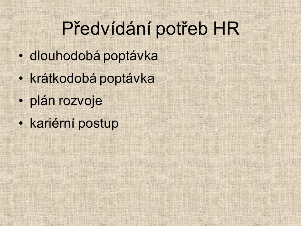 Předvídání potřeb HR dlouhodobá poptávka krátkodobá poptávka